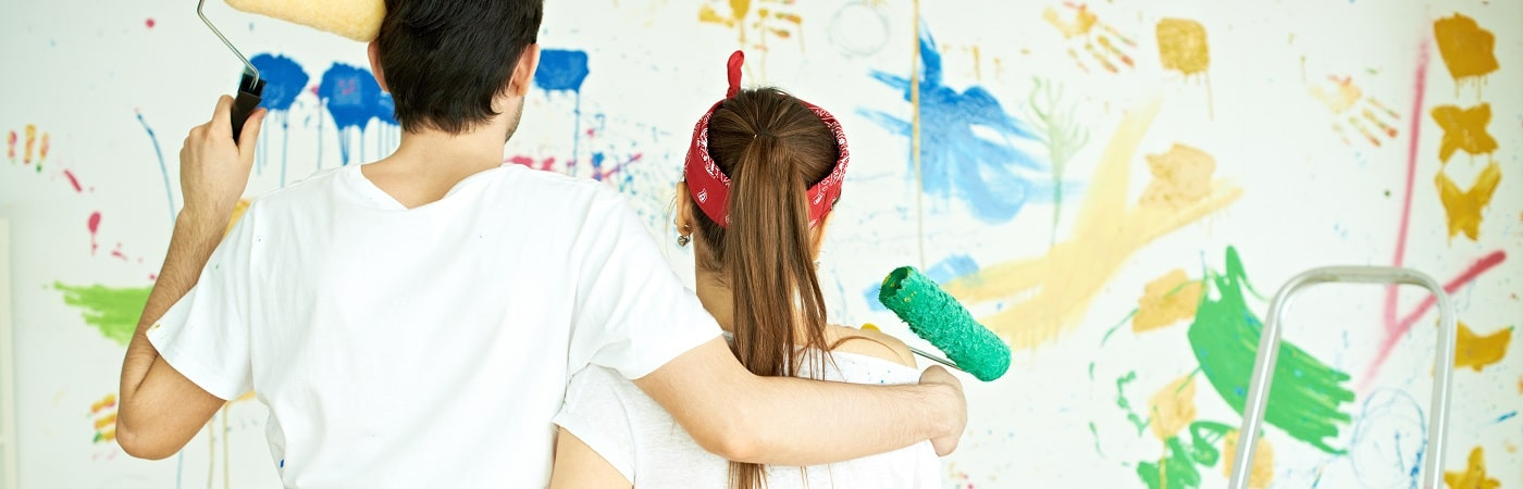 Couple spending time together painting