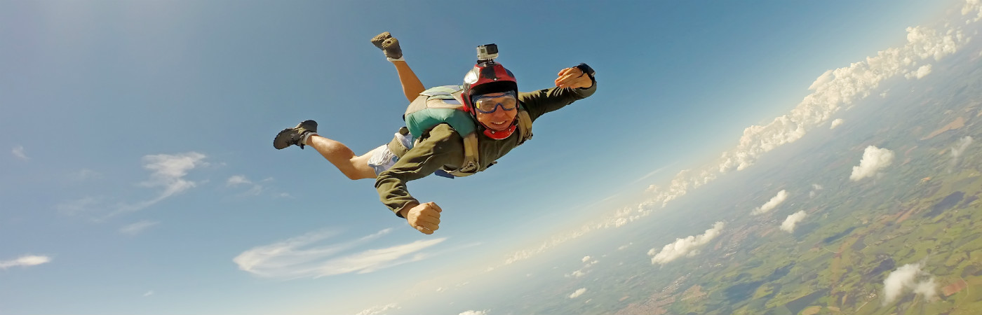 Life insurance and extreme sports - man sky diving