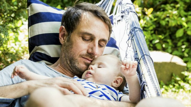 life cover - resources - img - Sleep tips for parents - father and son in hammock - 730x411